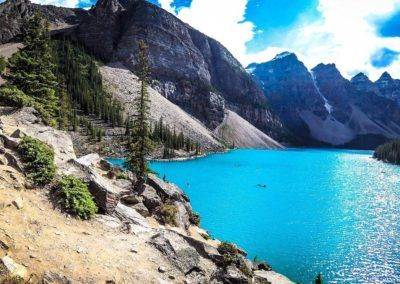 View of Moraine Lake near Banff and our downtown hostel