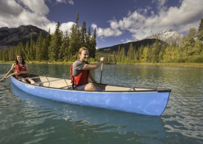 Canoeing near Banff and the King Edward Hotel